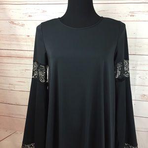 936ac0f455c6 ASOS Dresses - Women s Black Boho Swing Dress Size 8 Lace Sleeve